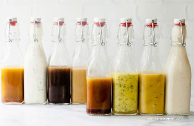 Como armazenar molho para saladas, Caesar, mostarda, maionese, italiano