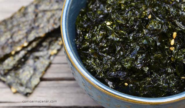 Como armazenar algas marinhas desidratadas, secas